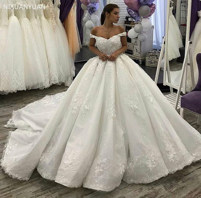Gorgeous Applique Off Shoulder Lace Ball Gown Wedding Dresses Princess Backless Bride Wedding Gowns Bridal Gowns Robe De Marriee
