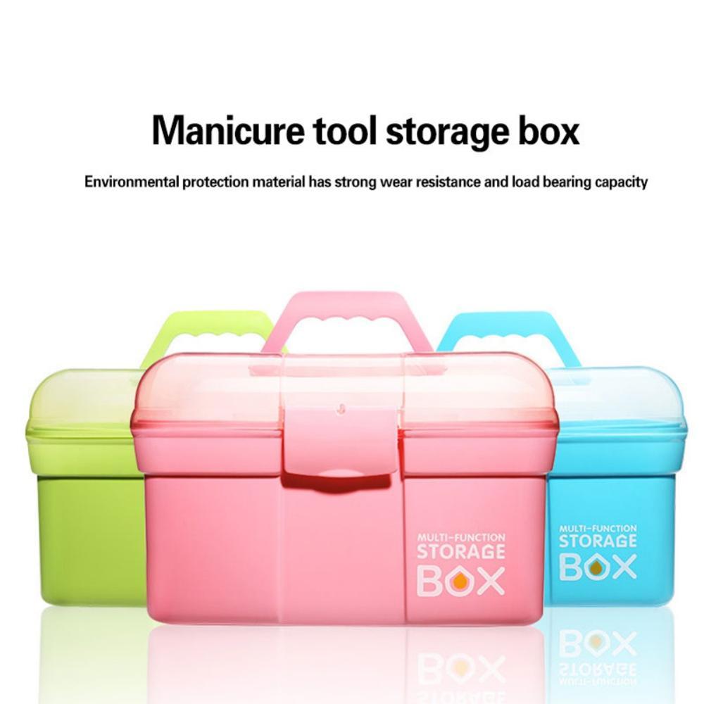 Large Storage Box Cosmetics Box Nail Tool Box Plastic Toy Box Household First Aid Medicine Box