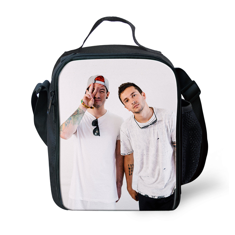Thikin Twenty One Pilots Lunch Bags for Students Girls Portable Cooler Box for Kids Pterosaur Tote Picnic Pouch For Girls in Lunch Bags from Luggage Bags