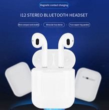 New i12 TWS Double Wireless Bluetooth V5.0 Earphones Touch Portable Headsets Stereo Ear Hook Earbud  Sports Music Headphone