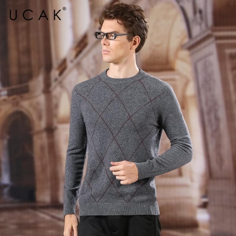UCAK Brand Pure Merino Wool Sweaters Men 2020 O-Neck Striped Casual Fashion Streetwear Homme New Arrival Spring Pullover U3157