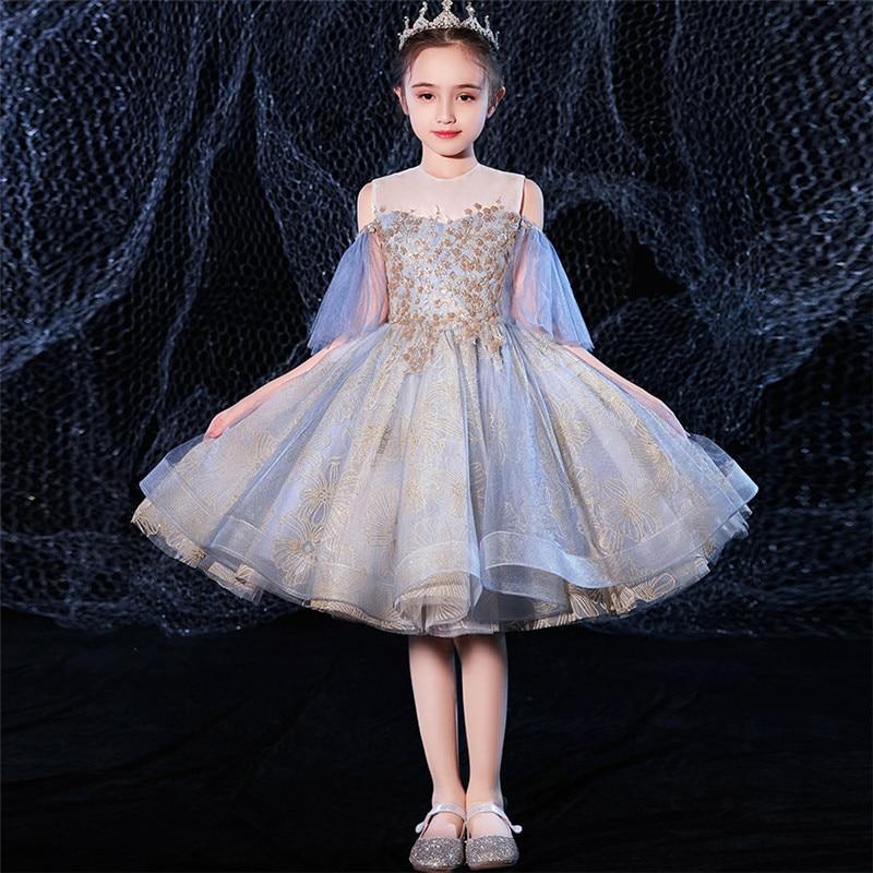 Baby Kids Sweet Cute Birthday Wedding Party Princess Mesh Dress 2020 Elegant Children Girls Host Piano Costumes Ball Gown Dress