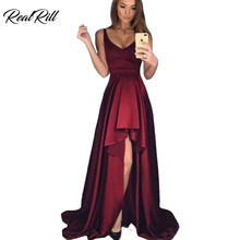 Real Rill V Neck High-Low Evening Dress 2019 Long Satin Lace Up Back Formal Sleeveless Asymmetrical Gown