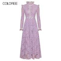 Purple Lace Long Party Dress Women Elegant Ruffles Long Sleeve Pleated Maxi Dress 2020