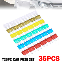 36pcs 7.5A 10A 15A 20A 25A 30A Car Auto Standard and Mini Blade Fuse Kit Motorcycle Boat Truck