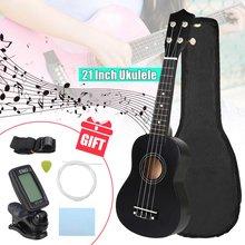 Soprano ukulele 21 polegada basswoood iniciante ukelele 4 cordas guitarra havaiana instrumento musical crianças presente uke + tuner pick + cinta