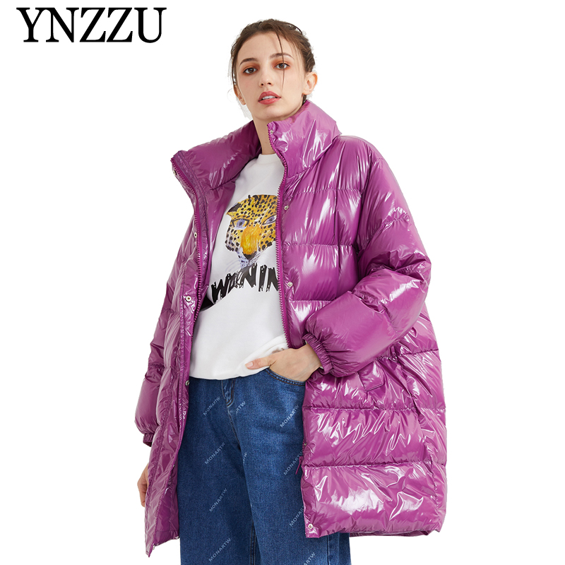 YNZZU Oversize Loose Thick Warm Women Down Jacket 2019 Winter Turtleneck Light Ladies Down Coat Light Duck Down Overcoat YO904