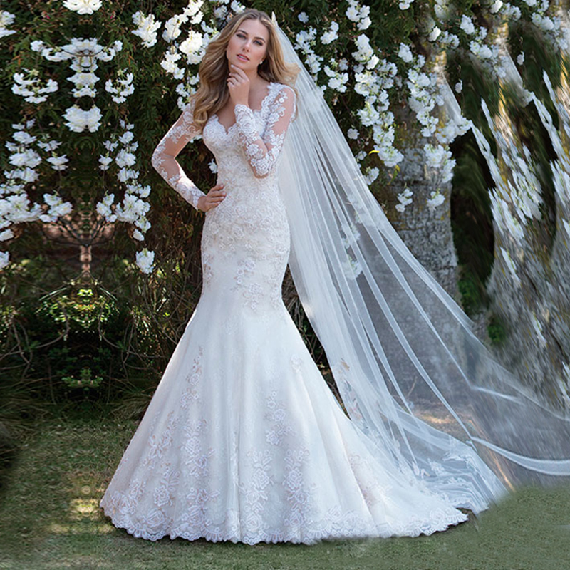 See Through Mermaid Long Sleeves Wedding Dress 2020 Lace Appliques Bridal Gowns Robe De Marriage White Bride Gowns Vestido Novia title=