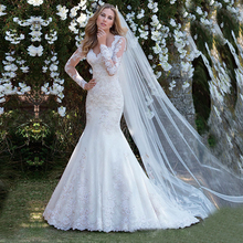 Vestido de noiva de mangas compridas, transparente, de casamento, apliques de renda, robe de casamento 2020