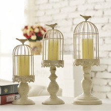 Candle-Holder Bird-Cage Romantic Valentine's-Day-Decoration European White Dinner Iron