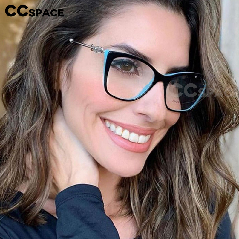 45649 Women Cat Eye Glasses Frames Rope Knot Metal Temple Trending Styles Optical Fashion Computer Glasses
