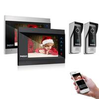 TMEZON 7 Inch Wireless/Wifi Smart IP Video Door Phone Intercom System with 2 Night Vision Monitor + 2 Rainproof Doorbell Camera