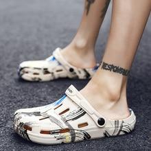 Graffiti Printing Men Summer Shoes Holes Sandals Hollow Breathable Flip Flops Croc Fashion Beach Slippers Waterproof footwear