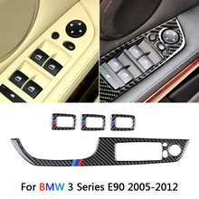 Подлинное карбоновое волокно, украшение салона автомобиля, двери, окна, переключатель крышки, планки для BMW E90 3 серии 05-12 LHD, аксессуары, наклейки