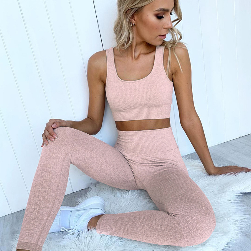Woman Sportwear Pink Seamless Gym Set Crop Top Bra Pad Striped Elastic high waist yoga set Yoga Outfit fitness set Gym Clothing