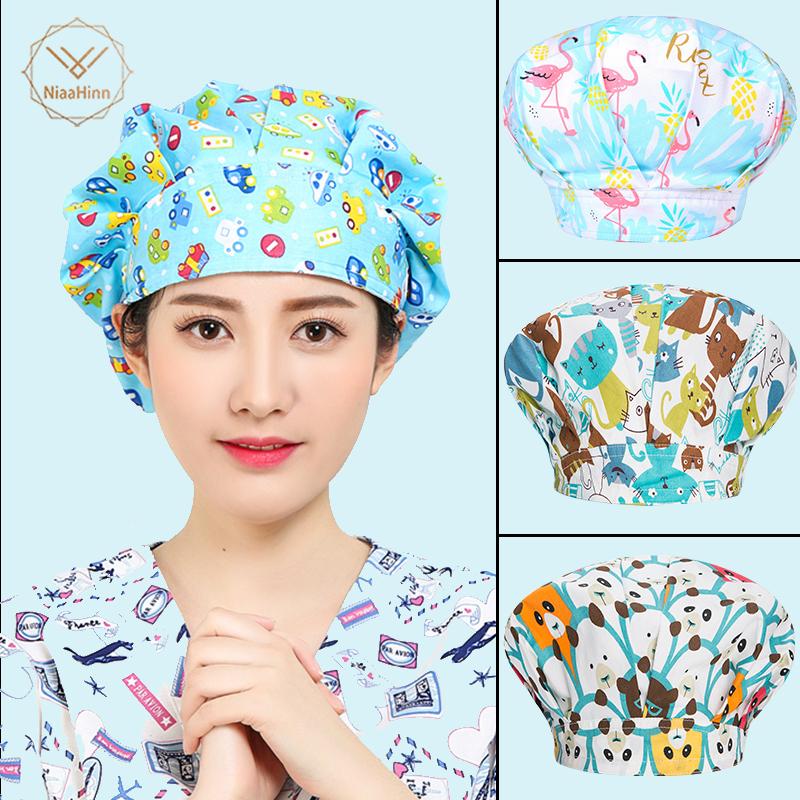Medical Surgical Caps Women Surgery Scrubs Printing Hat Pet Hospital Nursing Caps Doctor Pharmacist Spa Beauty Salon Working Hat