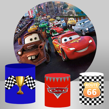 Photography Backdrop Plinth-Cover Circle Birthday-Party Cartoon Studio for Cars Movie-Characters