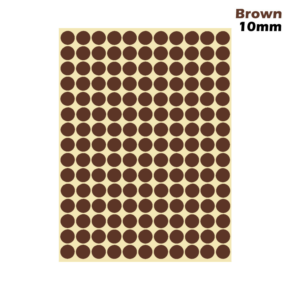 1 лист 10 мм/19 мм цветные наклейки в горошек круглые круги точки бумажные клеящиеся этикетки офисные школьные принадлежности - Цвет: brown 10mm