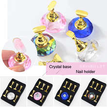 1Pc Magnetic Nail Holder + 5 Tips Practice Training Display Stand Crystal Holders Copper False Nails Showing Shelf Manicure Tool