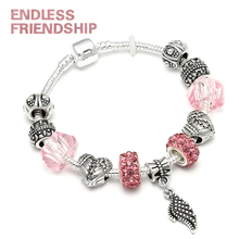 Dropshipping Antique Silver Color Original Charm Bracelets With Wing fit Brand Bracelet For Women
