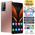 2021 New Global Version Note25U 7.2Inch Smartphone Android 10.0 5800mAh 12+512G 24+48MP Full Screen Face Unlock 4G 5G Cellphone