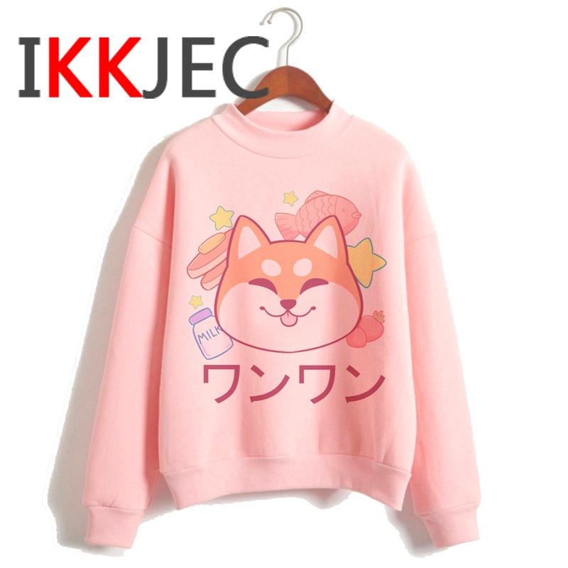 Shiba Inu Kawaii Dogs Funny Cartoon Grunge Aesthetic Hoodies Women Ladies Harajuku Cute Anime Sweatshirt Streetwear Hodoy Female 9