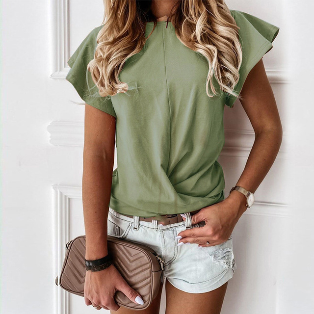 100% Cotton Women Printed Short Sleeve Round Neck Shirt Top Holiday Beach Summer Tops Cute Square Elegant Solid Slim Shirts 4