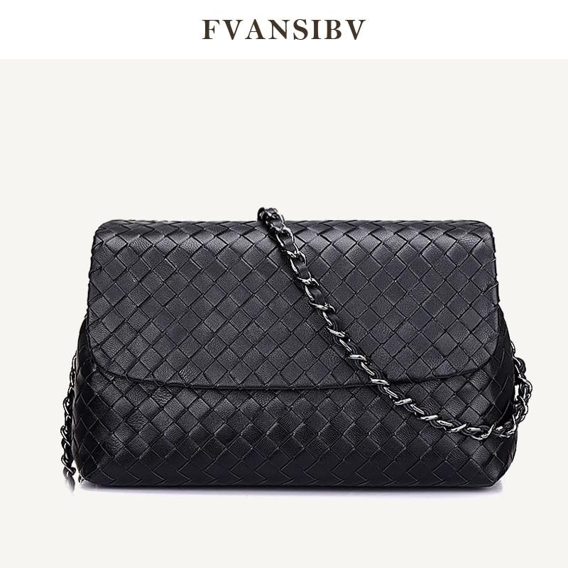 Design Bag Chain Shoulder-Bag Woven Fashion Women's 100%Sheepskin Luxury Brand Casual-Style