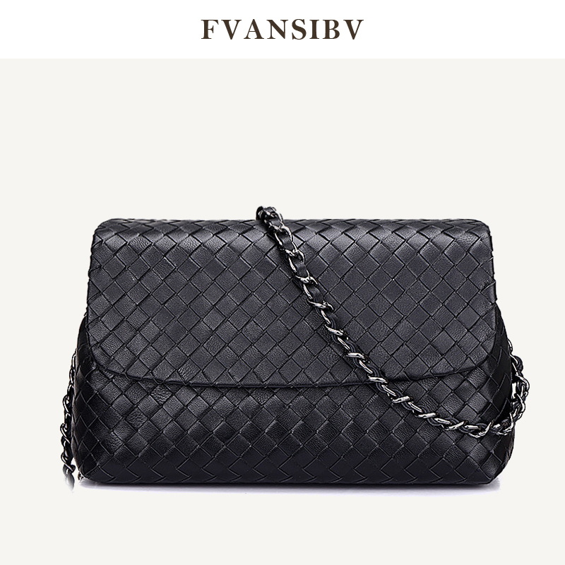 Women's Shoulder Bag Leather Casual Style Luxury Brand Design Bag Fashion Simple Chain Small Bag 100% Sheepskin Woven 2020 New|Shoulder Bags| - AliExpress