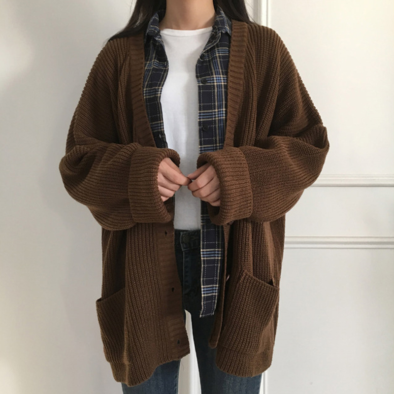 Women Autumn Knitted Cardigan 2019 Breasted Button Casual Loose Sweater Outwear Solid Pink Beige Female Sweaters