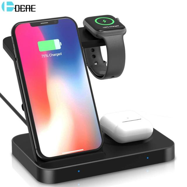 15W Qi Wireless Charger 5 in 1 Charging Dock Station for Samsung Galaxy Watch Buds Gear For Apple iWatch iPhone 11 X Airpods Pro