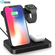 Cargador inalámbrico Qi de 15W, estación de carga 5 en 1 para Samsung Galaxy Watch, Buds Gear para Apple iWatch iPhone 11 X Airpods Pro