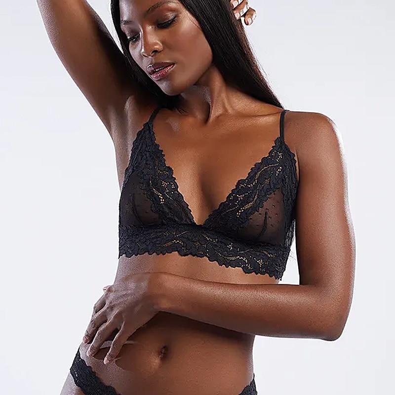 2020 yeni sutyen kadın dantel Bralette seksi şeffaf Unpadded Femme ince sutyen konfor bayanlar nokta örgü sutyen iç çamaşırı