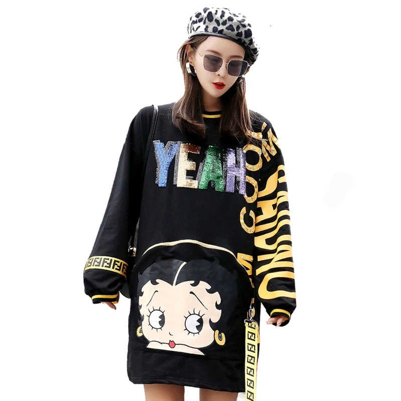 QING MO Women Cartoon Girl Pattern Letter Print Pullover Sweatshirt Dress 2018 Autumn Sequin Letter Sweatshirt Dress DQM67
