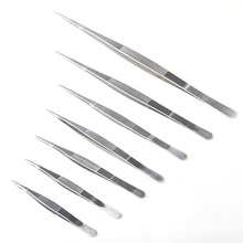 12.5/25/30cm Long Barbecue Food Tong Stainless Steel Straight Tweezer Toothed Home Medical Garden Kitchen BBQ Tool