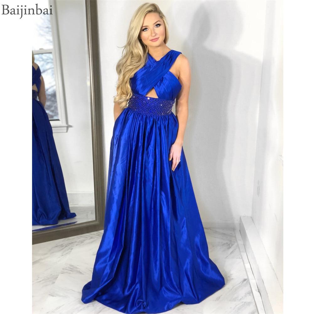 Baijinbai Chic A-Line Satin   Prom     Dresses   Halter Neckline Crystals Formal Floor Length Vestidos   Dress   Party Gowns Evening   Dress