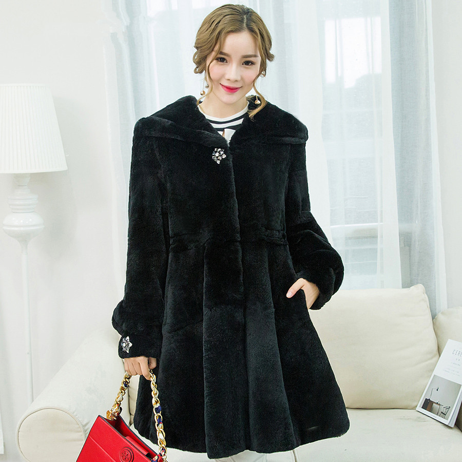 Rex Natural Rabbit Fur Coat Hooded Slim Long Winter Warm Jackets For Women Real Fur Coat Outerwear Plus Size 5XL PCTT015