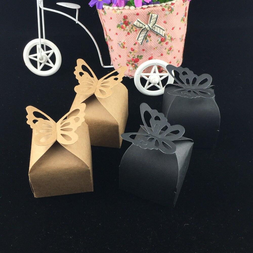 100 Pcs/Lot papillon brun noir petite taille coffrets cadeaux bonbons présent Souvenir emballage papier boîtes paquet à la main emballage cas