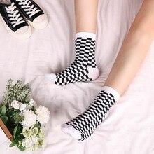 Korea Funky Harajuku Trend Women Checkerboard Socks Geometri