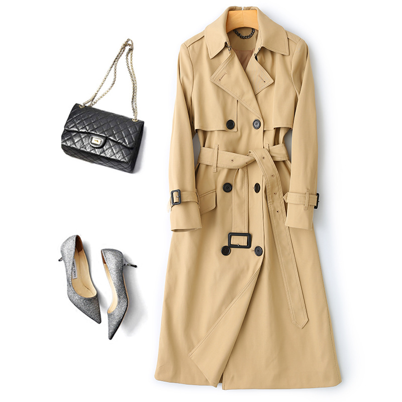 Obrix Casual Style Female Spring Trench V-Neck Double Breasted Full Sleeve Pockets Belt Trench For Women