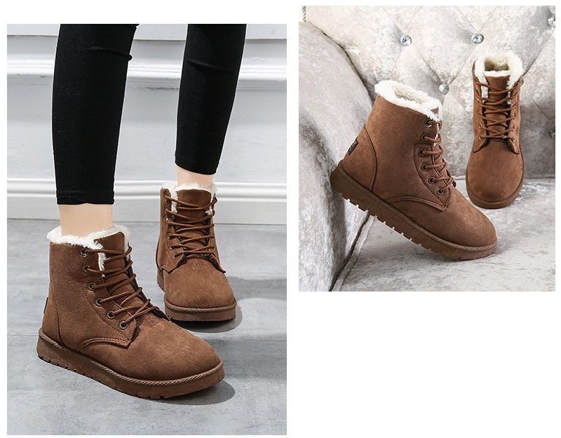 Women Flock Fur Flat Lace Up Winter Snow Suede Ankle Boots Female 25