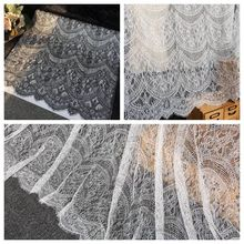 3M lot Wide 150CM French Eyelash Lace Fabric Accessories DIY Clothing Dress Wedding Decoration Home curtain fabric art Fabric cheap NoEnName_Null Knitted