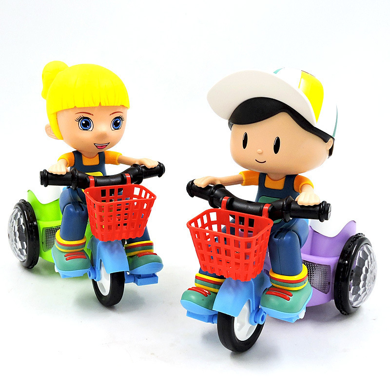 Douyin Celebrity Style Children Electric Stunt Tricycle Motorcycle Bike Online Celebrity Bicycle With Music Light