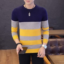 Soft Sweater For Men O Neck Pullover Sweaters Long Sleeve Knitting Casual Tops Winter Coat Plus Size Striped Coats size 3XL