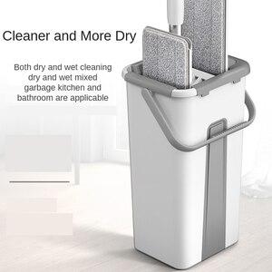 Popular xiaomi flat mop bucket suit hand wash free dry wet dual purpose lazy cleaning tool floor microfiber mop pads dust head