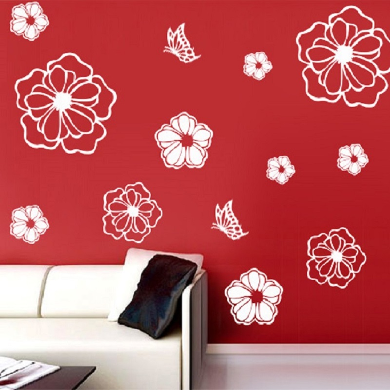 1Pcs Refrigerator Sticker Wall Stickers-Butterfly and Flowers - Decoración del hogar - foto 5
