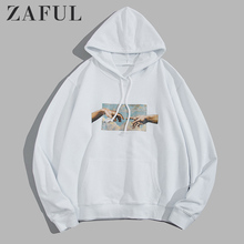 ZAFUL Hoodies Men Helping Hands Graphic Front Pocket Drawstring Cotton Hoodie Casual Solid Sweatshirts 2019 Fall Women Clothes eyelet drawstring graphic hoodie