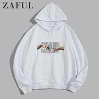 ZAFUL Hoodies Men Helping Hands Graphic Front Pocket Drawstring Cotton Hoodie Casual Solid Sweatshirts 2019 Fall Women Clothes