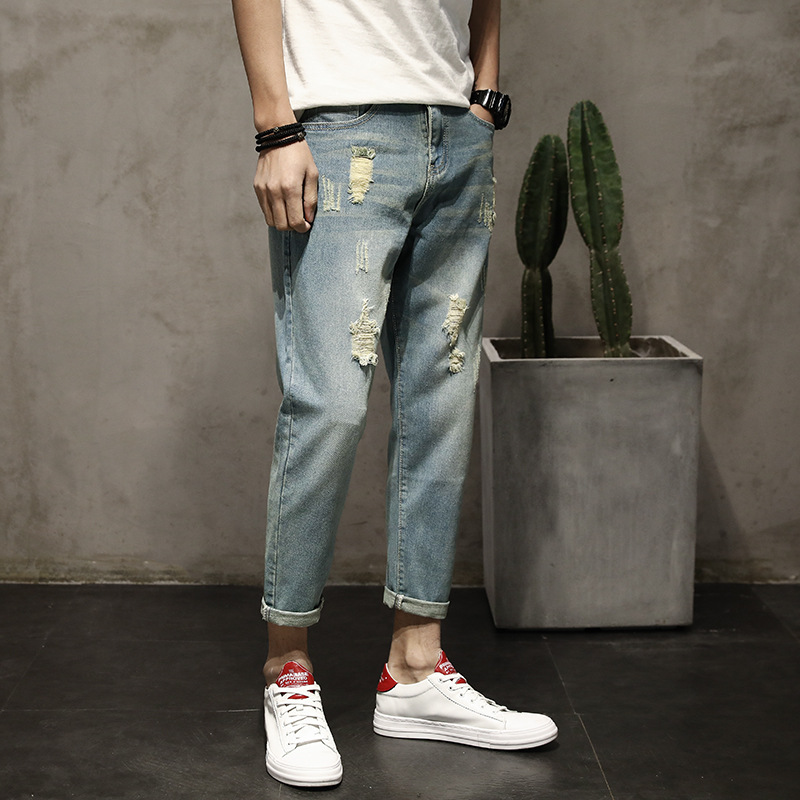 2018 Spring Summer MEN'S Jeans Men Skinny Pants Korean-style Slim Fit With Holes Beggar Capri Pants Fdk905