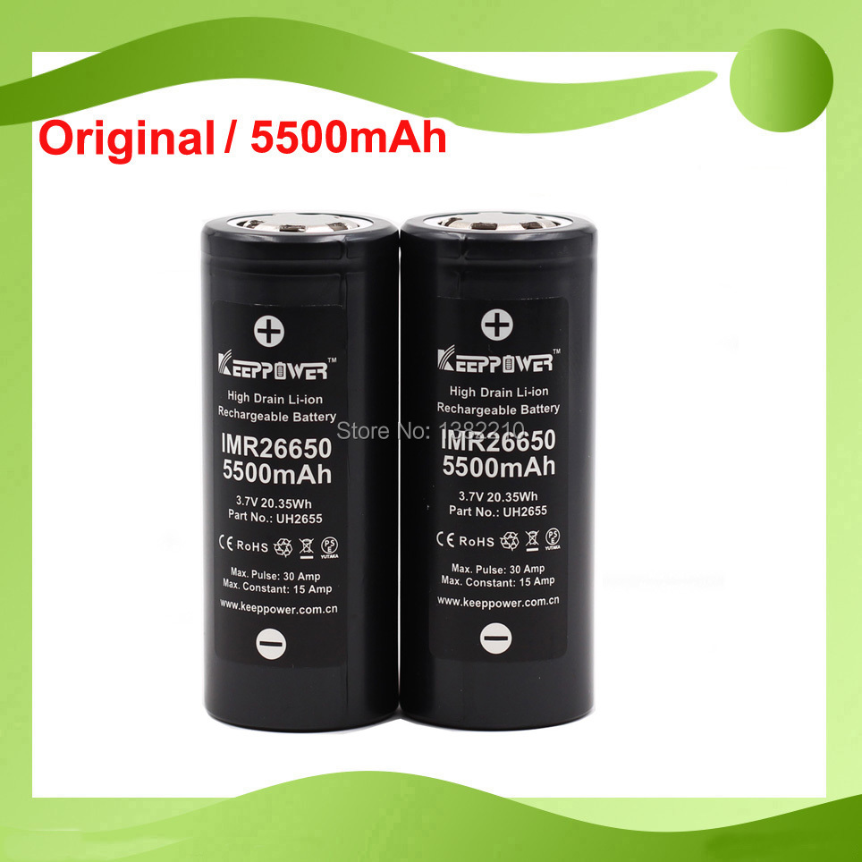 2 шт./лот 2019 новая модель Keeppower 3,7 В 26650 IMR26650 5500 мАч макс. 30a разряд батарея электронной сигареты